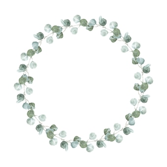 Zilveren eucalyptus krans. lagom autumn watercolor eucalyptus round frame for wedding and events uitnodigingen.
