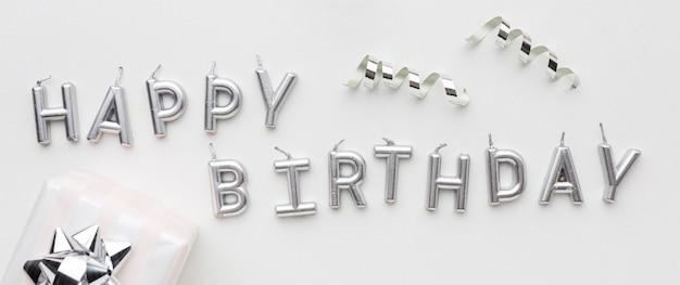 Zilveren gelukkige verjaardag bericht