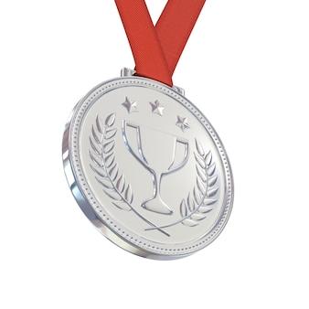Zilveren medaille op rood lint, geïsoleerd op een witte achtergrond