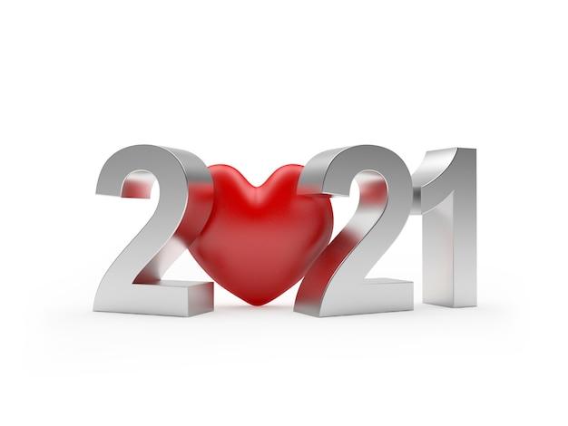 Zilveren nummer 2021 en rood hart pictogram