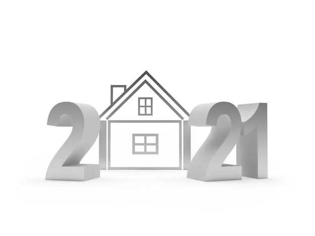 Zilveren nummer 2021 met huisje