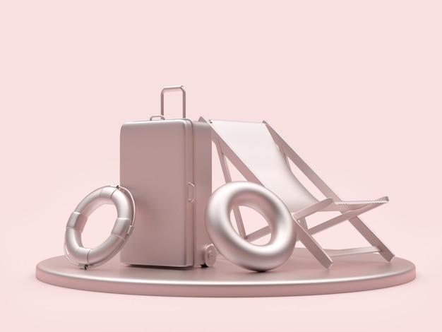 Zilveren reiskoffer en reddingsboeien met chaise longue