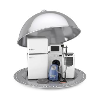 Zilveren restaurant cloche met huishoudelijke apparaten set op een witte achtergrond. 3d-rendering