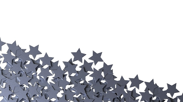 Zilveren sterren geïsoleerd op een witte achtergrond.