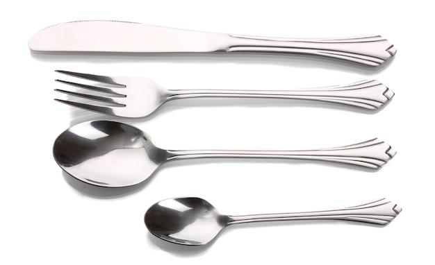 Zilveren vork en lepel, mes geïsoleerd op wit