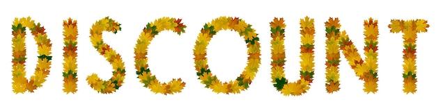 Zin korting van gele, groene en oranje esdoorn herfstbladeren close-up. isoleer op witte achtergrond.