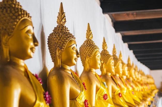 Zittende gouden boeddhabeelden op een rij atwat phutthaisawan, tempel van de liggende boeddha ayutthaya thailand