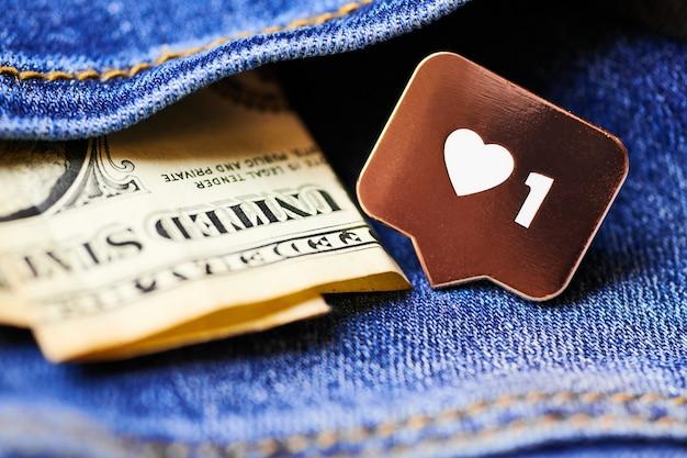 Zoals hartsymbool op dollarbiljetten