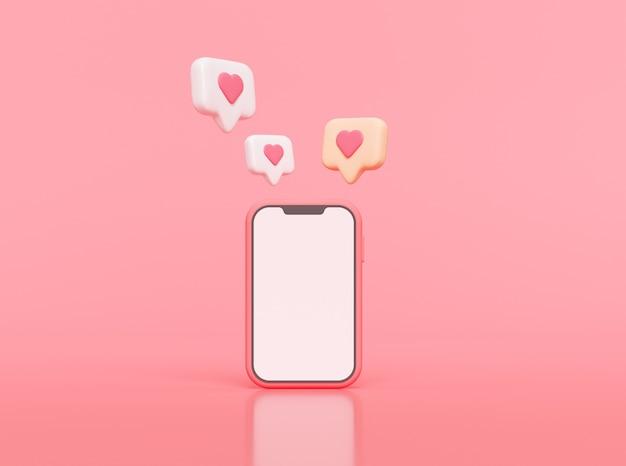 Zoals meldingspictogram op smartphone, meldingspictogram voor sociale media met hartsymbool. 3d-weergave