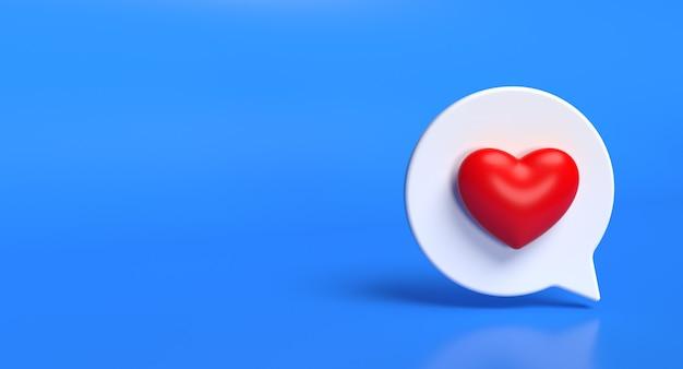 Zoals zeepbel sociale media 3d pictogram. netwerk liefde teken concept. 3d-weergave.