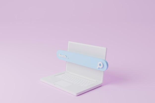 Zoekbalk en computer laptop op roze achtergrond. zoeken naar informatiegegevens over internetnetwerkconcept. 3d illustratie