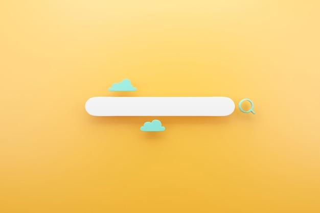 Zoekbalk grafisch ontwerp met gele achtergrond, 3d render