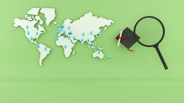 Zoeken naar studie in het buitenland over de hele wereld, zoeken naar wereldwijd onderwijs, 3d-weergave