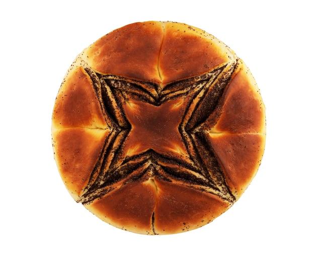 Zoet broodje met maanzaad op een lichte achtergrond