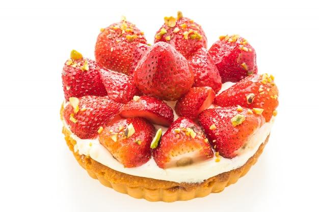 Zoet dessert met aardbei bovenop scherp