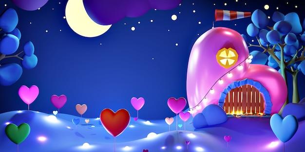 Zoet huis in de vorm van een roze hart 's nachts met een sterrenhemel, met planten in de vorm van hartjes en vuurvliegjes.