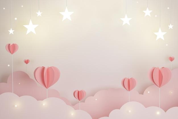 Zoete hart en ster voor het concept van liefdevalentijnskaarten, kopieer ruimte voor tekstadvertentie, 3d illustratie