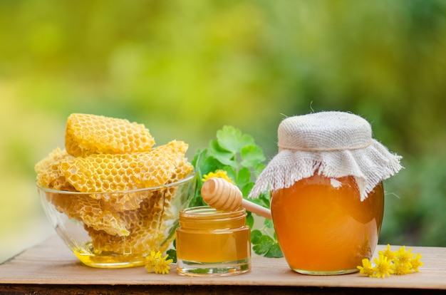 Zoete honing, stukjes kammen en honing beer op wazig tuin. honing druipend van honing beer