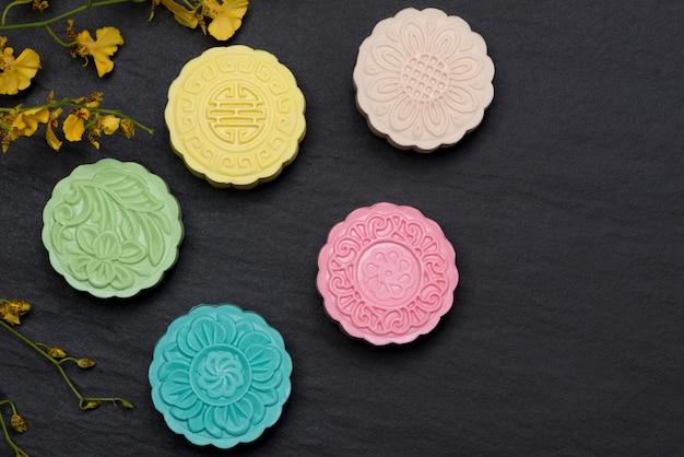 Zoete kleur van sneeuwhuid mooncake.
