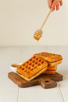 Zoete wafels met honing