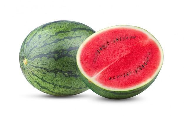 Zoete watermeloen die op wit wordt geïsoleerd