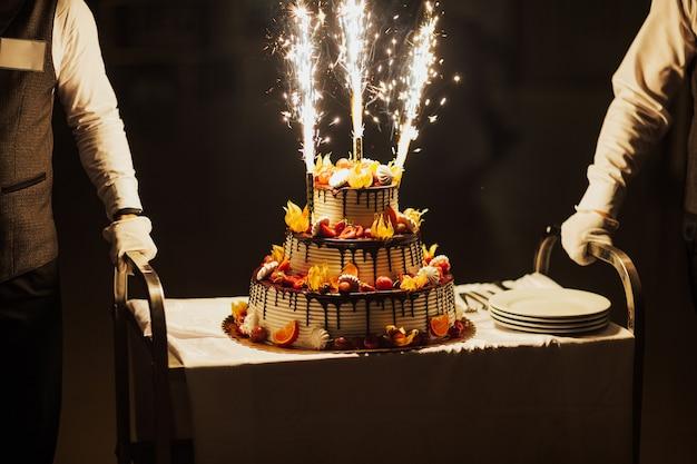 Zoete witte cheesecake torte met vers fruit en chocolade.