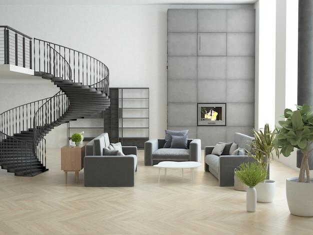 Zolderkamer met hoog plafond en grote verticale ramen