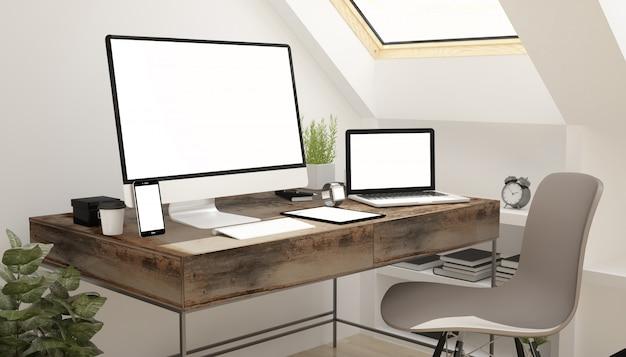 Zolderstudie apparaten wit scherm.