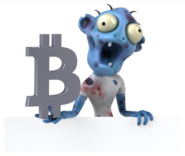 Zombie en bitcoin - 3d illustratie
