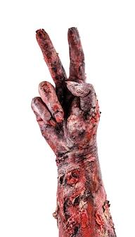 Zombiehand met twee vingers, aftellen of overwinningsteken, geïsoleerd wit oppervlak.