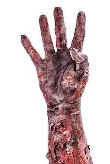 Zombiehand met vier vingers, aftellen geïsoleerd wit oppervlak, halloween-hand.