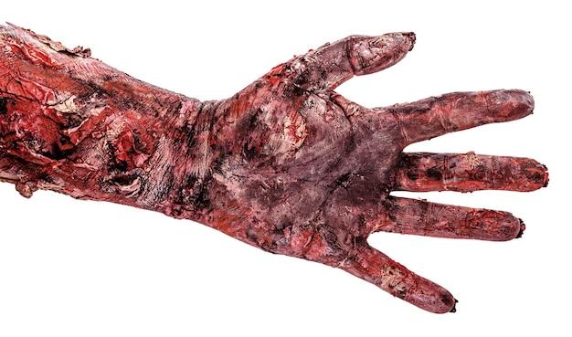 Zombiehand met vijf vingers, open hand, geïsoleerd wit oppervlak, halloween-hand.