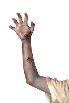Zombiehand over witte achtergrond wordt geïsoleerd die