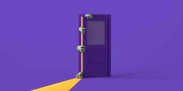 Zombiehanden die een deur openen op halloween. ruimte kopiëren. 3d illustratie.