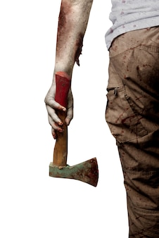 Zombiehanden met wond die bijl houden die over witte achtergrond wordt geïsoleerd