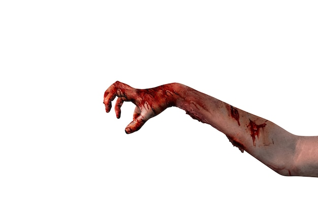 Zombiehanden met wond die over witte achtergrond wordt geïsoleerd