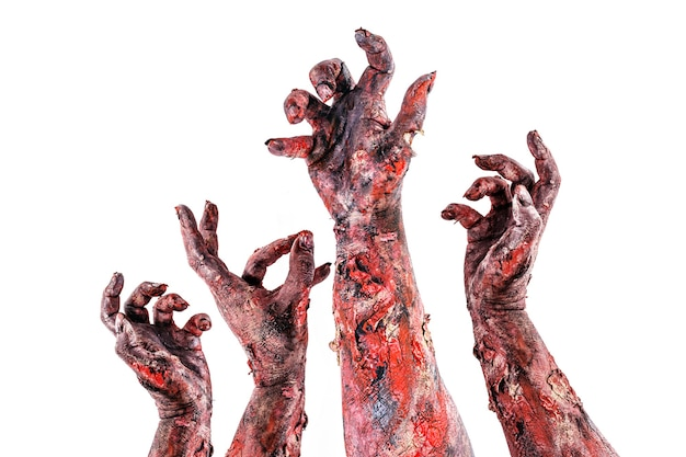 Zombies of monsters hand aanvallen, aanval of nachtmerrie concept, geïsoleerd wit oppervlak.