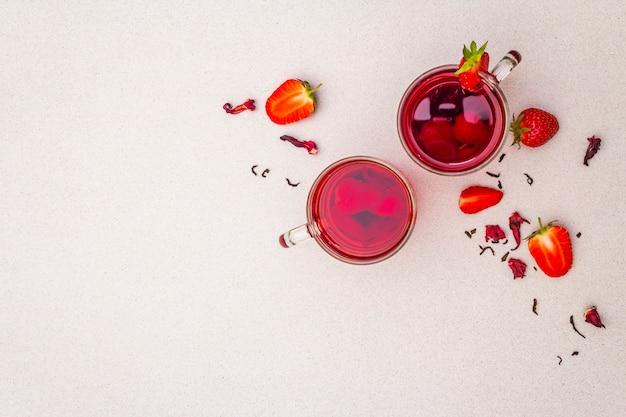Zomer aardbei hibiscus groene thee