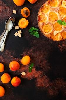 Zomer abrikozenpastei zelfgemaakte heerlijke fruit dessert. abrikozentaart. fruittaart. donkere rustieke achtergrond. bovenaanzicht. kopieer ruimte