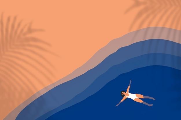Zomer achtergrond met vrouw zwemmen mixed media