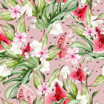 Zomer aquarel naadloze patroon met tropische bladeren, plakjes watermeloen, hibiscus bloemen en vlinders. illustratie