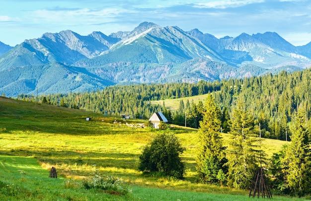 Zomer bergdorp rand met schuur en kudde schapen in de buurt van tatra bereik achter, polen