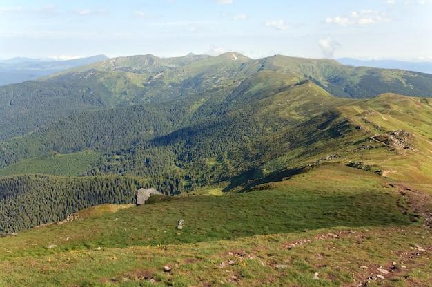 Zomer bewolkt berglandschap (oekraïne, karpaten)