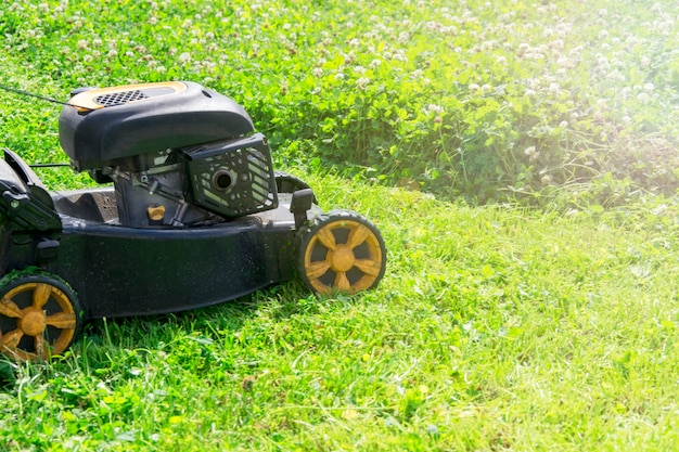 Zomer en lente seizoen zonnig gazon maaien in de tuin.