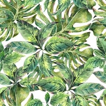 Zomer exotische aquarel naadloze patroon