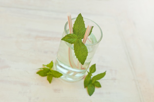 Zomer gezonde zelfgemaakte limonade water drinken muntblaadjes in glas op grijze close-up mojito coctail