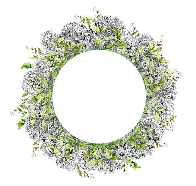 Zomer gras, neutraal ornament. bloemen krans. aquarel kaart in hippie stijl