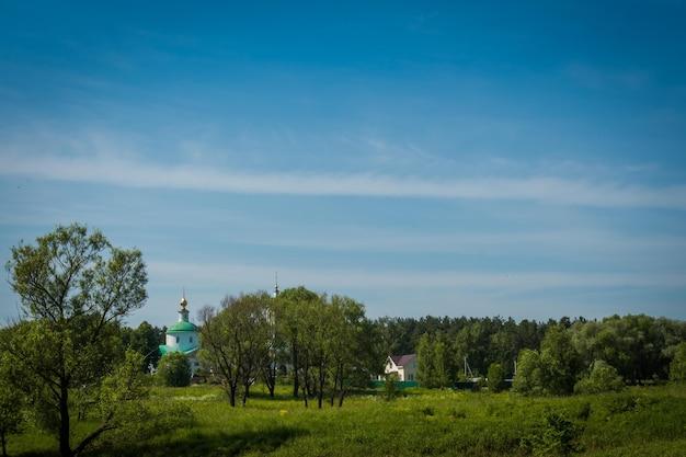 Zomer groen grasveld en oude witte kerk, landelijk landschap.