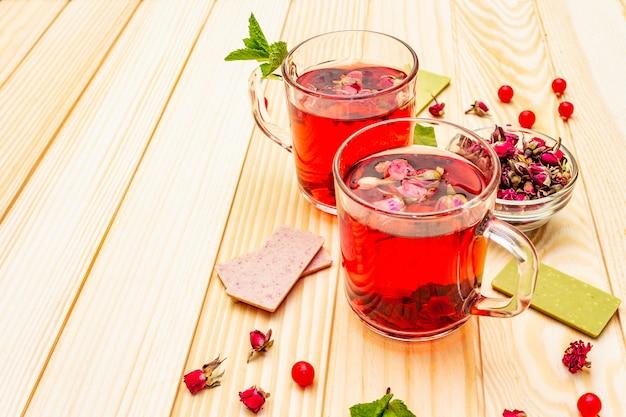Zomer heerlijke groene rose thee