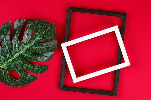 Zomer ideeën concept tropische blad wit zwart frame rand